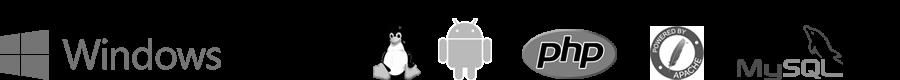 Logos: windows, IOS, Linunx, Android, php, apache, mySQL